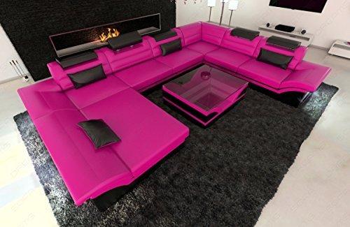 Design Wohnlandschaft Enzo XXL pink - schwarz