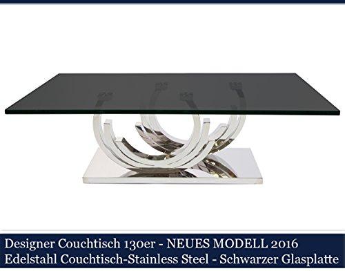 Designer Couchtisch Edelstahl Wohnzimmertisch Glastisch Glas Hochglanz Schwarzer Glasplatte (130cmx70cmx42cm)