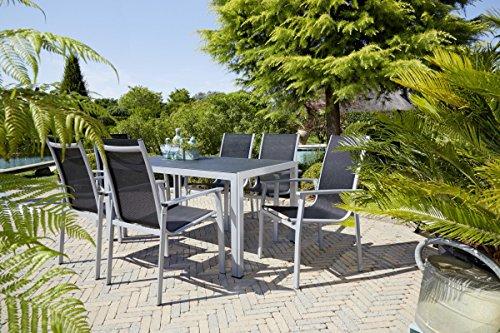 Dreams4Home Gartentischgruppe 'Moni' - 7tlg. Set, 6x Stapelsessel B/H/T: 66 x 98 x 61 cm, 1x Tisch B/H/T: 150 x 74 x 90 cm, Outdoor, Balkonmöbel, Gartenmöbel, in silber / schwarz