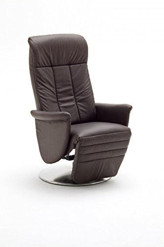 Dreams4Home Ledersessel 'Daniel' Relaxsessel Leder Wohnzimmer Sessel Relaxer TV-Sessel, Farbe:Braun