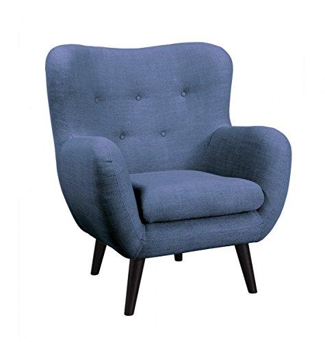Dreams4Home Loungesessel 'Brixton' - Sessel, Kuschelsessel, Wohnzimmer, Polstersessel, Gästezimmer, Wellenfederung, Stellmaß BxT: 91 x 83 cm, in hellblau, anthrazit, grün und blau, Farbe:Hellblau