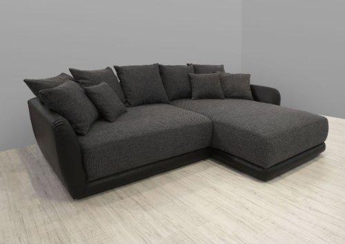 Dreams4Home Polsterecke Chios XXL Wohnlandschaft Big Sofa Ecksofa Couch grau schwarz, Aufbauvariante:Longchair/Ottomane links