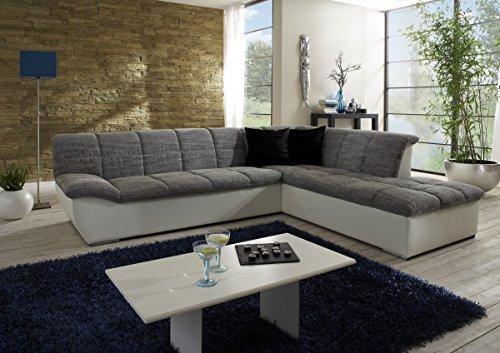Dreams4Home Polstersofa, Ecksofa, Ottomane, 'Balance', weiß, grau, Polstermöbel, Echtholzfüße, Couch, Aufbauvariante:Ottomane rechts davorstehend
