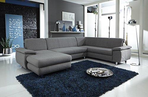 Dreams4Home Polstersofa 'Spike', Sofa, Wohnzimmer, braun, grau, Ottomane, Longchair, optional mit Schlaffunktion, Schlaffunktion:mit Schlaffunktion