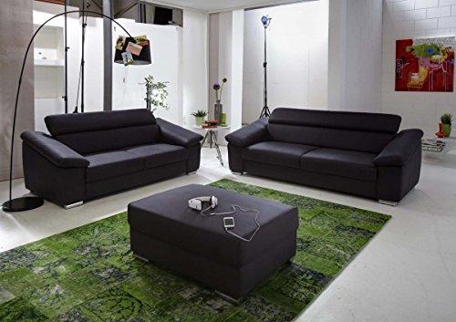 Dreams4Home Polstersofa 'Venice I', Sofa, Wohnzimmer, anthrazit, grau, 2er Element, 3er Couch, optional mit Hocker, Hocker:ohne Hocker