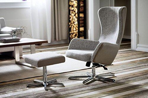 Dreams4Home Relax Sessel 'Indie' - Relaxsessel, Sessel, Relaxer, TV-Sessel, mit Wippfunktion, inkl. Hocker, in grau / beige, Gestell in Formholz Metall, Sessel beslastbar bis 120 kg, Hocker belastbar bis 50 kg