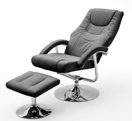 Dreams4Home Relaxsessel 'Flora' mit Hocker , in schwarz und weiß, Fernsehesessel, Wohnzimmer, Sessel, Relaxer, TV-Sessel, Farbe:Schwarz