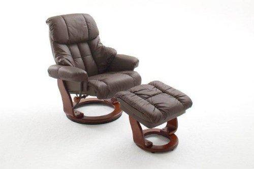 Dreams4Home Relaxsessel 'Fortuna' mit Hocker, Leder,in braun, max. 150 kg, Fernsehesessel, Wohnzimmer, Sessel, Relaxer, TV-Sessel