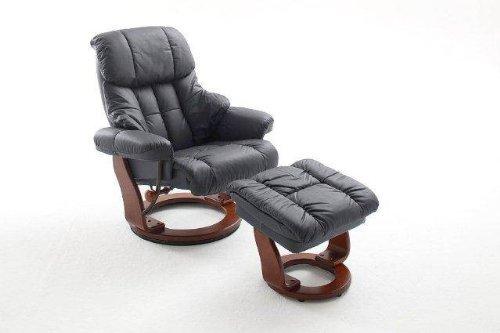 Dreams4Home Relaxsessel 'Fortuna' mit Hocker, Leder,in schwarz, max. 150 kg, Fernsehesessel, Wohnzimmer, Sessel, Relaxer, TV-Sessel