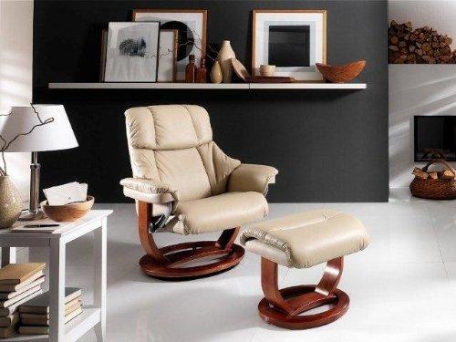 Dreams4Home Relaxsessel 'Kingdom' mit Hocker, in creme,Leder, max. 150 kg, Fernsehesessel, Wohnzimmer, Sessel, Relaxer, TV-Sessel