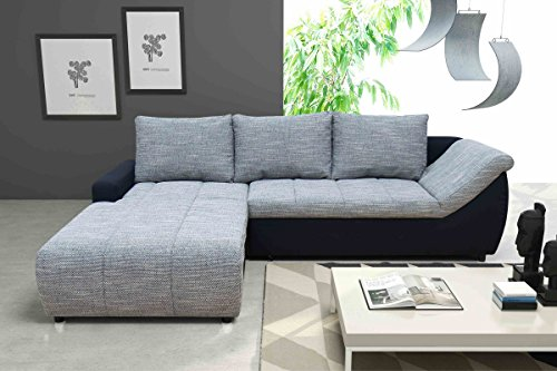 Dreams4Home Schlafsofa 'Moon', weiß, grau, schwarz, Polstermöbel, Wohnzimmer, Sitzmöbel, Couch, Schlaffunktion, Aufbauvariante:Recamiere links davorstehend