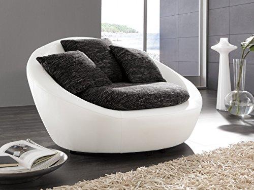 Dreams4Home Sessel 'Bari' - Kuschelsessel, Polstergarnitur, Clubsessel, Loungesessel, Relaxsessel, Wohnzimmer, Polstersessel, Stellmaß BxT: 130 x 112 cm, in schwarz-grau und Kunstleder schneeweiß