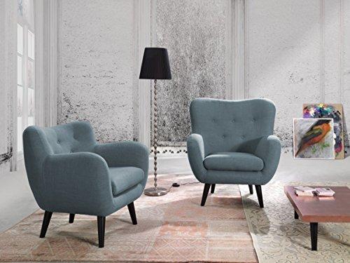 Dreams4Home Sesselset 'Brixton' - 1 Loungesessel, 1 Sessel, Clubsessel, Polstergarnitur, Wohnzimmer, Wellenfederung, in hellblau, anthrazit, grün und blau, Farbe:Grün