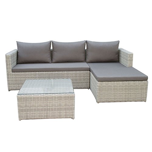 outliv gartenlounge polyrattan luna lounge set halbrund geflecht mixed white kissen taupe. Black Bedroom Furniture Sets. Home Design Ideas