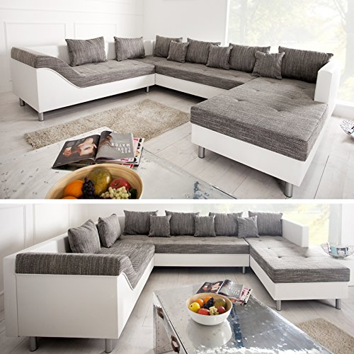gro e xxl wohnlandschaft sultan wei grau charcoal couch recamiere links ottomane rechts m bel24. Black Bedroom Furniture Sets. Home Design Ideas