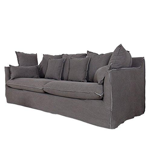 Großes Hussensofa HEAVEN Baumwollstoff stone washed grau 3er Sofa 215 cm