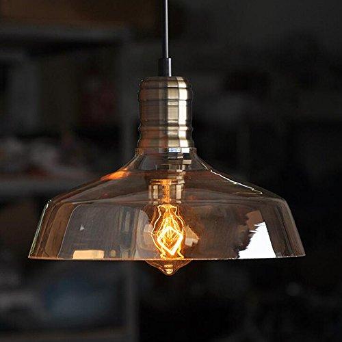 HimanJie Glasschirm für amerikanisch Edison Lampe E27 Vintage Schwarz Pendelleuchte Decken Retro (Bernstein)