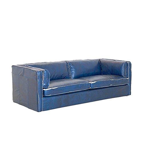 Hussensofa 3-Sitzer Rindsleder blau Antiklook 222x75x96cm SH 44cm - Modell Manos