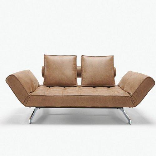innovation ghia kunstleder schlafsofa hellbraun. Black Bedroom Furniture Sets. Home Design Ideas