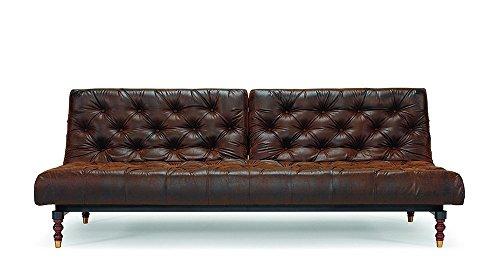 Innovation - Oldschool Schlafsofa - braun - Kunstleder - gedrechselt - Per Weiss - Design - Sofa