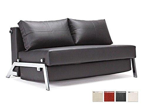 innovation schlafsofa mit chrombeinen cubed 140 kunstleder schwarz 0 m bel24. Black Bedroom Furniture Sets. Home Design Ideas