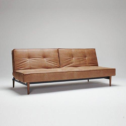 innovation splitback wood schlafsofa braun kunstleder 551 leather look brown gestell dunkles. Black Bedroom Furniture Sets. Home Design Ideas