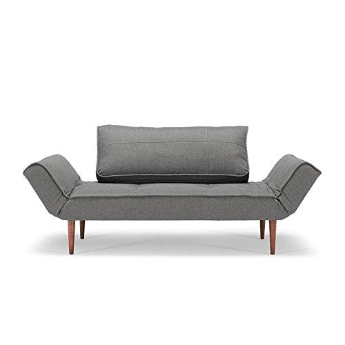 Innovation Zeal Schlafsofa 150x70cm, dunkelgrau Stoff 216 Flashtex Dark Grey Gestell dunkles Holz