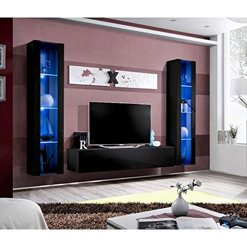 justyou aur a ii wohnwand anbauwand schrankwand hxbxt 190x260x40 cm schwarz matt schwarz. Black Bedroom Furniture Sets. Home Design Ideas