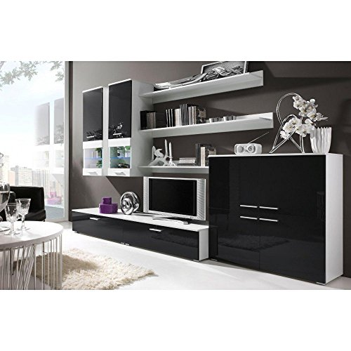 justyou cami ii wohnwand anbauwand schrankwand farbe wei matt schwarz hochglanz m bel24. Black Bedroom Furniture Sets. Home Design Ideas