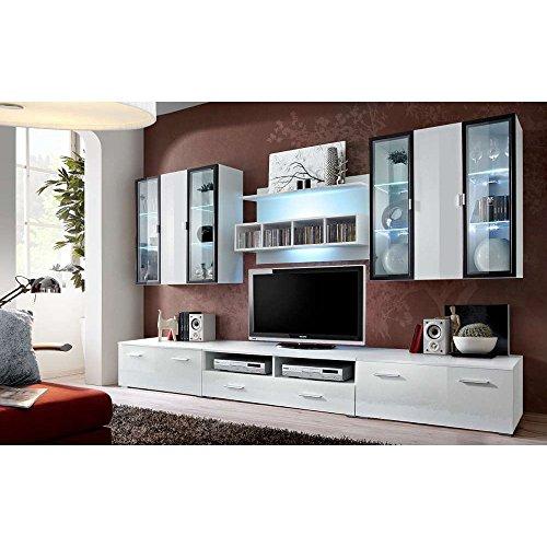 JUSTyou ICALIND Wohnwand Anbauwand Schrankwand (HxBxT): 190x300x45 cm Weiß Matt / Weiß Hochglanz