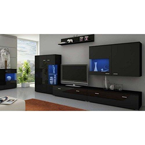 justhome new wave led wohnwand anbauwand schrankwand. Black Bedroom Furniture Sets. Home Design Ideas