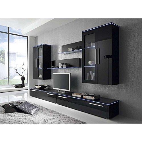 justyou phantasy led wohnwand anbauwand schrankwand hxbxt 186x302x40 cm schwarz matt. Black Bedroom Furniture Sets. Home Design Ideas