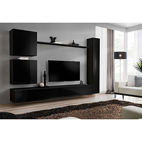 justyou swotch viii wohnwand anbauwand schrankwand hxbxt 160x330x40 cm schwarz matt schwarz. Black Bedroom Furniture Sets. Home Design Ideas