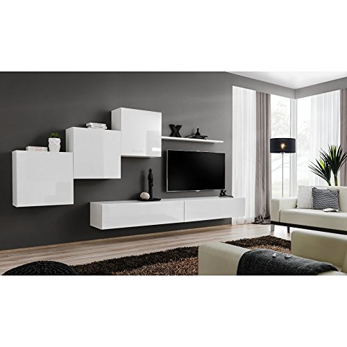 JUSTyou SWOTCH X Wohnwand Anbauwand Schrankwand (HxBxT): 160x330x40 cm Weiß Matt / Weiß Hochglanz