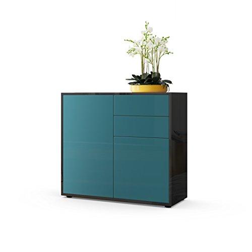 kommode sideboard ben korpus in schwarz hochglanz fronten in petrol hochglanz m bel24. Black Bedroom Furniture Sets. Home Design Ideas