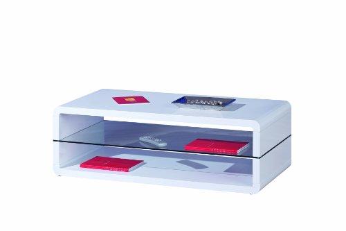 Inter Link 50100135 Couchtisch weiß hochglanz Wohnzimmertisch Glas Wohnzimmer Tisch 2 Ablagen modern
