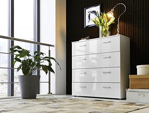 Schubladen Kommode Sideboard Anrichte MARBELLA in Hochglanz Weiß - Made in Germany - Höhe 91cm, Breite 88cm, Tiefe 32cm