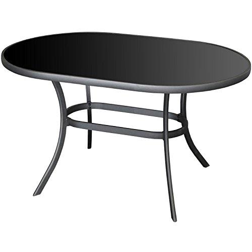 Multistore 2002 Moderner Alu Gartentisch 140x90cm Glastisch mit schwarzer Tischglasplatte oval Terrassentisch Balkontisch