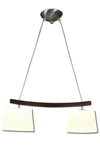 Naeve Leuchten Glaspendelleuchte/exklusiv Leuchtmittel/b: 42 cm/h: 120 cm/Metall/Holz/Glas/metall blank/schwarz/braun/weiß satiniert 6004739