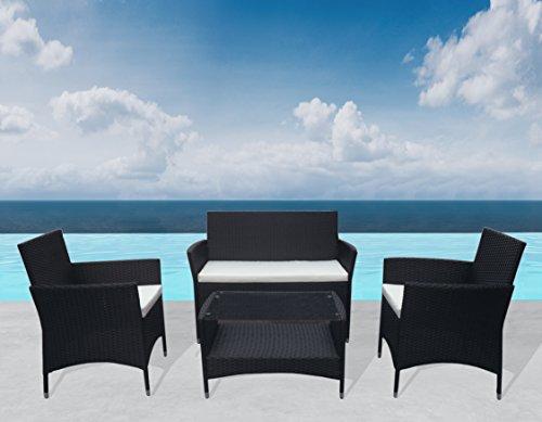 """Outdoor Sitzgruppe """"Florenz"""" Lounge Schwarz Gartenset Sofa Garnitur Polyrattan Gartenmöbel Poly Rattan 7 tlg."""