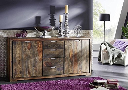 Palisander Massivholz geölt Sideboard Sheesham Holz Möbel massiv Pure Sheesham Strong Grey #880
