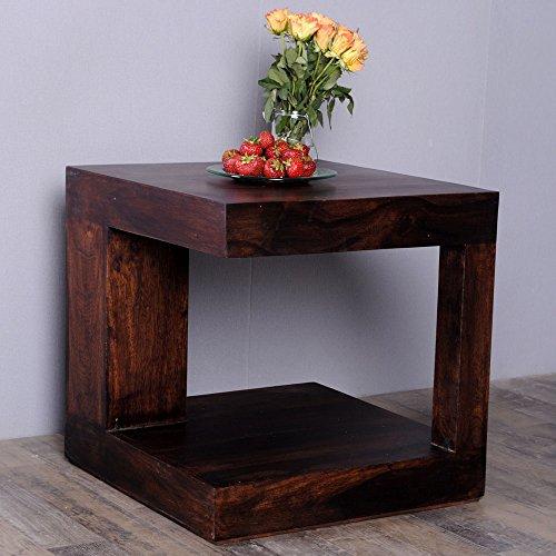 *B-Ware SONDERPREIS* Couchtisch SHIVA Dark-Brown-A 50x50cm Akazie Massivholz Beistelltisch