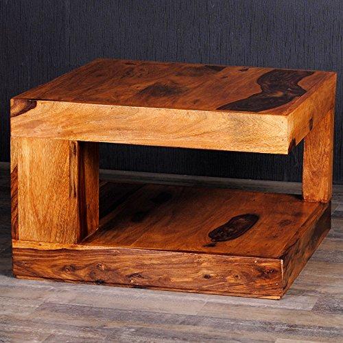 Couchtisch SHIVA Natural-A 60x60 Akazie Massivholz Wohnzimmertisch Beistelltisch