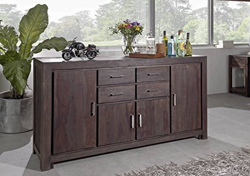 sheesham massivholz lackiert m bel grau sideboard. Black Bedroom Furniture Sets. Home Design Ideas