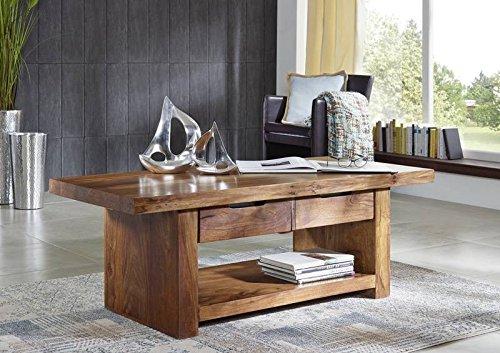 Sheesham Massivholz massiv Möbel lackiert Couchtisch 140x60 Palisander Möbel massiv Holz walnuss Duke #121
