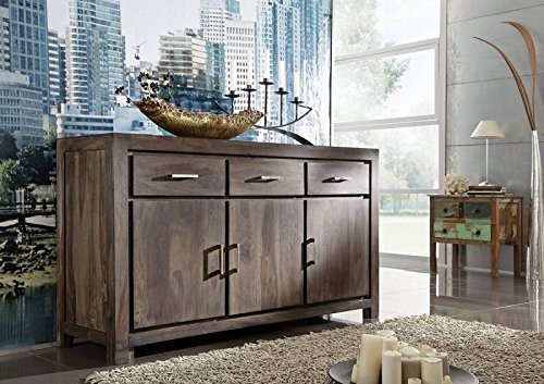 sheesham mbel holz massiv sideboard palisander grau massivmbel metro polis 113 0 m bel24. Black Bedroom Furniture Sets. Home Design Ideas