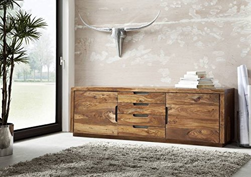 Sheesham massiv Holz Möbel lackiert Sideboard Palisander massiv Möbel Massivholz walnuss Duke #116