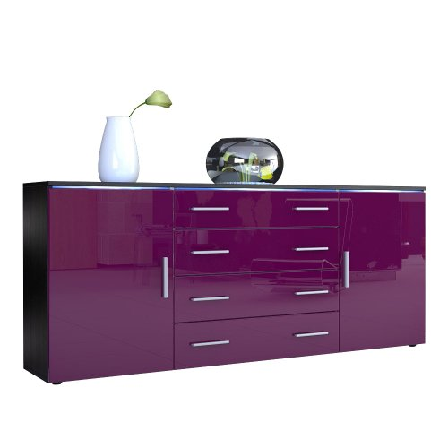 sideboard kommode faro v2 korpus in schwarz matt front in brombeer hochglanz m bel24. Black Bedroom Furniture Sets. Home Design Ideas
