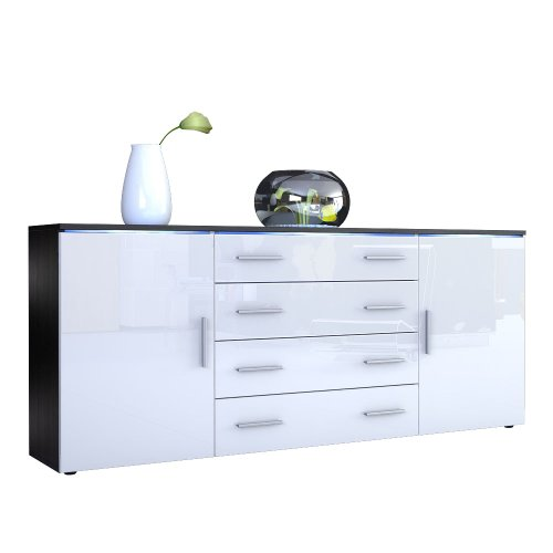 sideboard kommode faro v2 korpus in schwarz matt front in wei hochglanz m bel24. Black Bedroom Furniture Sets. Home Design Ideas