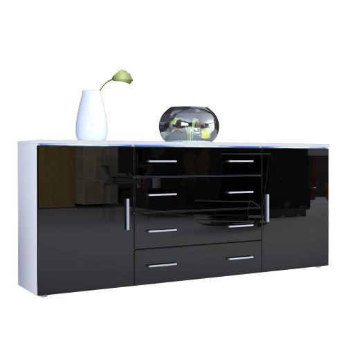 sideboard kommode faro v2 korpus in wei matt front in schwarz hochglanz m bel24. Black Bedroom Furniture Sets. Home Design Ideas